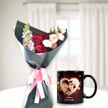Crazy For You Flower Bouquet with Personalised Mug: Customized Gifts