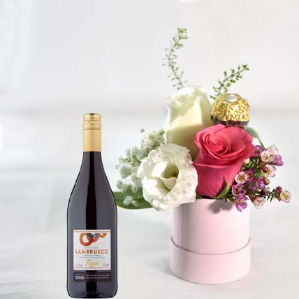 Flowers In Box N Red Wine: Flower Bouquet with Wine