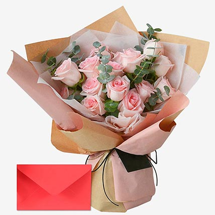 18 Sweet Roses With Greeting Card: Send Greeting Card with Flowers