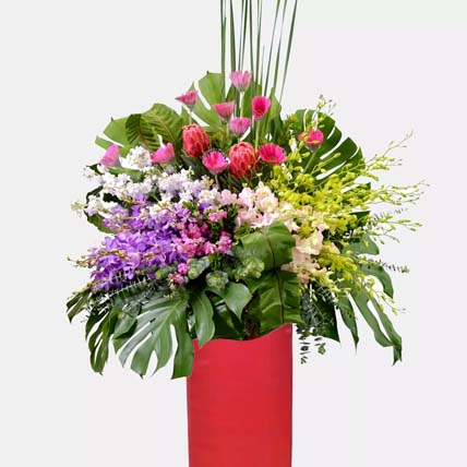 Shades Of Happy Flower Arrangement Stand: Grand Opening Flowers
