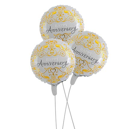 Bouquet of 3 Happy Anniversary Balloon: Balloon Bouquets