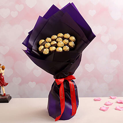Elegant Blue Ferrero Rocher Bouquet: Chocolate Bouquet Singapore