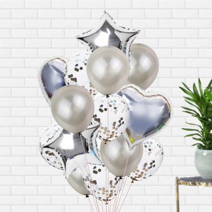 Bouquet of 12 Silver Latex and Foil Balloon: Balloons Delivery