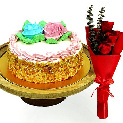 Roses Bouquet & Vanilla Treat Cake: Combo Gifts