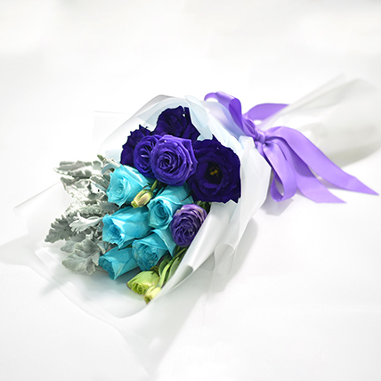 Blue Rose & Eustoma Blossom Bouquet: New Born Gifts