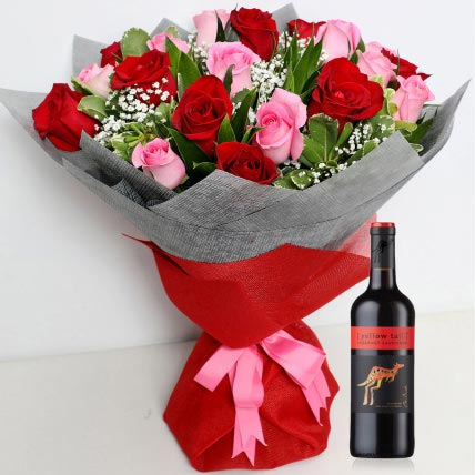 20 Red and Pink roses Bunch With Tesco Red Wine: Flowers And Wine Delivery