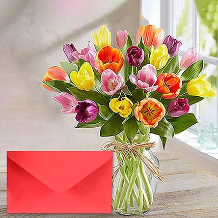 Mixed Tulip Vase With Greeting Card: Flowers & Greeting Cards