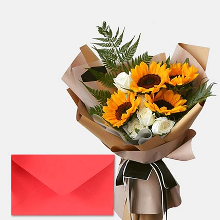 Sunflower & Roses Bunch With Greeting Card: Flowers & Greeting Cards
