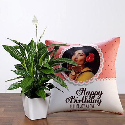 Lily Plant With Joy And Love Personalised Cushion: Indoor Plants