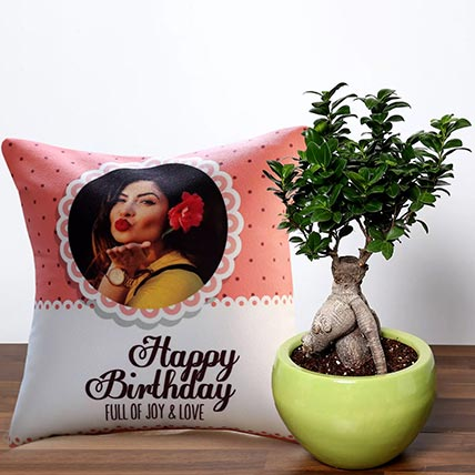 Personalised Love and Joy Birthday Cushion With Bonsai Plant: Bonsai Singapore
