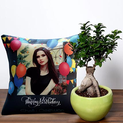 Bonsai Plant With Personalised Birthday Balloon Cushion: Bonsai Singapore