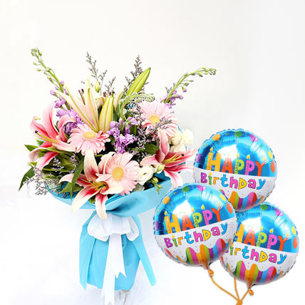 Lovely Gerberas And Lavender Bouquet With Birthday Balloon: Flowers N Balloons