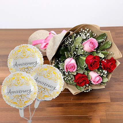 Sweet Roses Bunch With Anniversary Balloon: Balloons Delivery Singapore