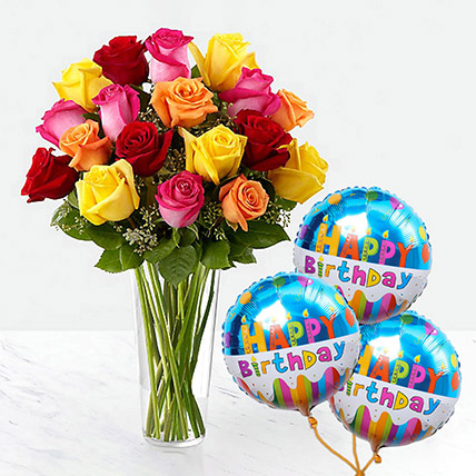 Vivid Roses Bunch With Birthday Balloon: Combo Gifts