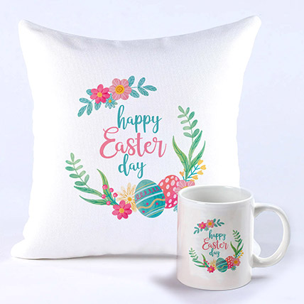 Happy Easter Cushion And Mug Combo: Easter Gift Ideas
