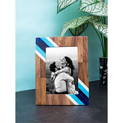 Personalised Blue And White Wooden Photo Frame: Personalised Anniversary Gift Ideas