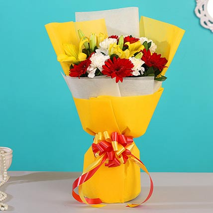 Colourful Exotic Flowers Bunch: Gerbera Flowers