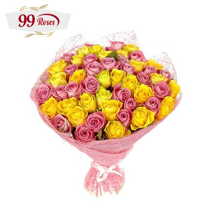 Mixture of Love: 99 Roses Bouquet