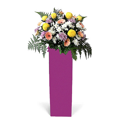 Premium Mixed Flowers With Pink Stand: Flower Stands