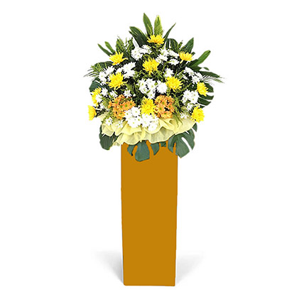 Vibrant Mixed Flowers Brown Stand Arrangement: Grand Opening Flower Stand Singapore