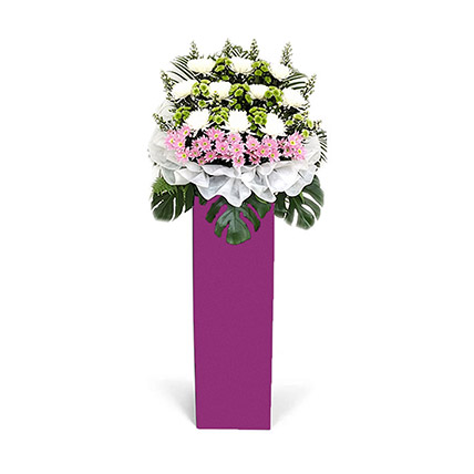 Blissful Mixed Flowers With Pink Stand: Flower Stands