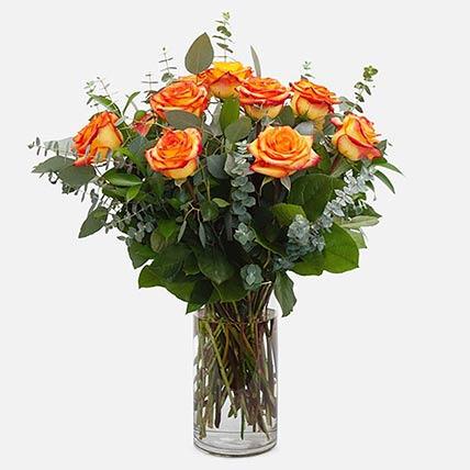 12 Beautiful Orange Roses Glass Vase Arrangement: Congratulations Flowers
