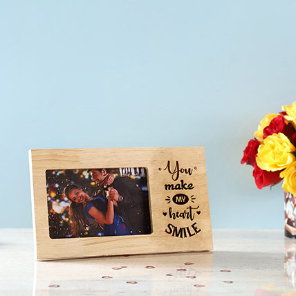 Make My Heart Smile Engraved Wooden Frame: New Arrival Gifts
