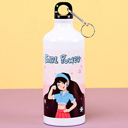 Printed Girl Power Water Bottle: Personalised Gifts for Her