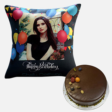 Chocolate Cake With Personalised Birthday Cushion: Personalised Combo Gifts