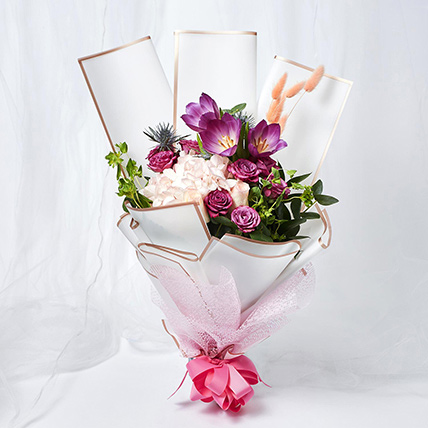Refreshing Mixed Flowers Wrapped Bouquet: Mother's Day Gifts