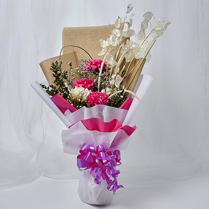 Classic Mixed Flowers Wrapped Bouquet: New Arrival Products