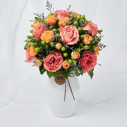 Exotic Mixed Flowers Ceramic Vase Arrangement: Hari Raya Flowers