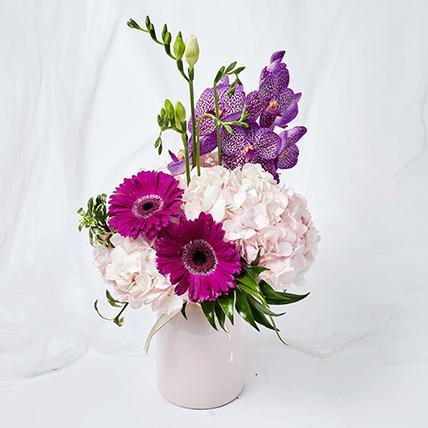 Serene Mixed Flowers Pink Vase Arrangement: Gerberas Bouquet