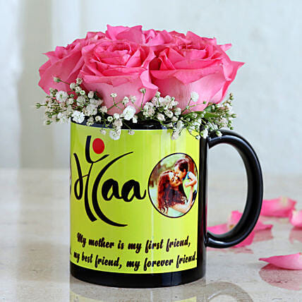 Charming Roses In Mug For Maa: Flowers N Personalised Gifts