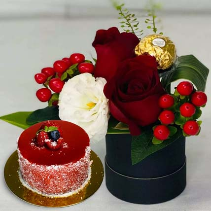 Roses And Rocher In The Box With Mini Mousse Cake: Best Selling Flowers
