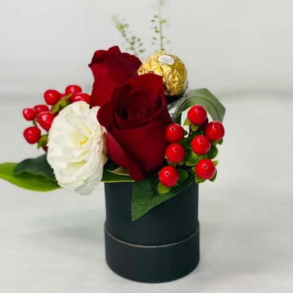 Red Roses With Rocher: Flowers And Chocolates