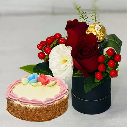 Box Of Roses With Vanilla Treat Cake: Flowers And Chocolates