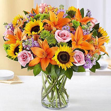 Vital Bunch of Flowers In Glass Vase: Orange Bouquets