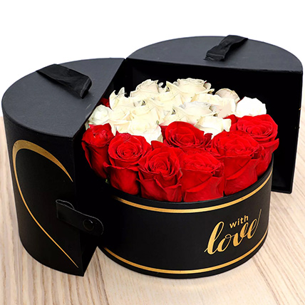 Floral Box Of Red White Roses: Flower in a Box