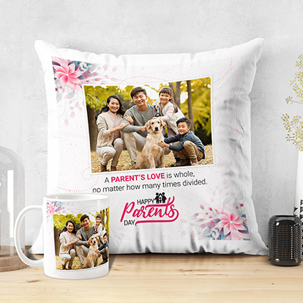 Parents Love Is Whole Personalised Cushion Mug: Gifts For Mom Dad