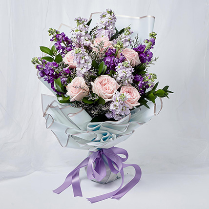 Elegant Mixed Flowers Wrapped Bunch: Happy Birthday Flowers