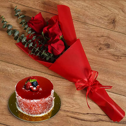 Beautiful Red Rose Bouquet With Mini Mousse Cake:  Gifts