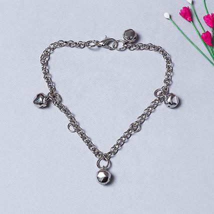 Girls Silver Toned Ghungroo Studed link Bracelet: