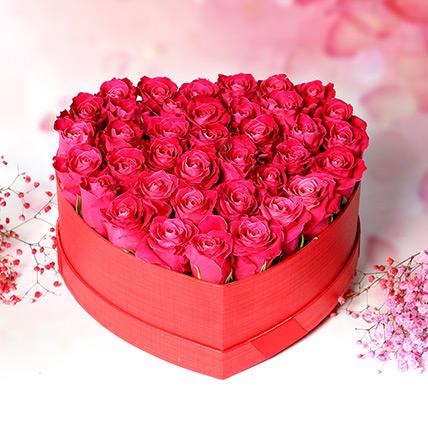 Dark Pink Roses In Heart Shape Box: Gift Ideas