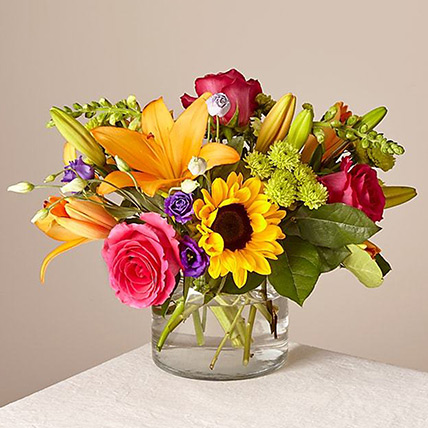 Heavenly Mixed Flowers Glass Vase: Congratulations Flowers Singapore