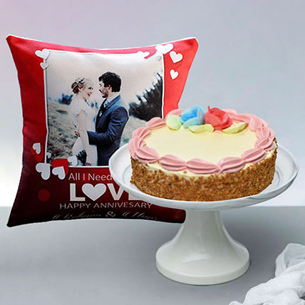 Butter Sponge Cake With Personalised Anniversay Cushion: Personalised Combos