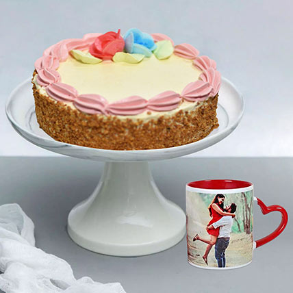 Butter Sponge Cake With Personalised Ceramic Mug: Combo Gifts