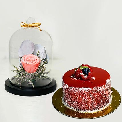 Forever Rose In Glass Dome Pink With Mini Mousse Cake: Cake Delivery Singapore Same Day