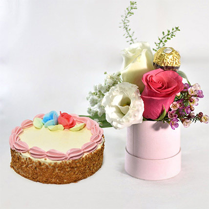 Pink Roses Box With Butter Sponge Cake: Flowers With Cake