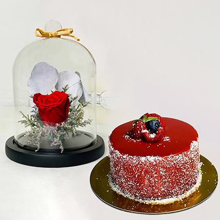 Red Forever Rose With Mini Mousse Cake: Flowers and Cake Delivery